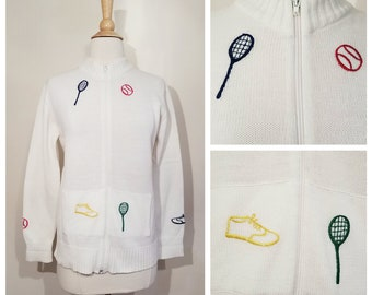 Tennis Cardigan . Zip up Novelty Tennis Sweater Jacket . Acrylic . size Medium