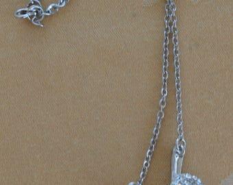 "Rhinestone ""Y"", Faux Lariat Necklace, Silver tone, 28"", Long, Vintage (AB14)"