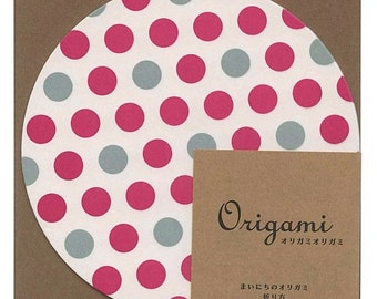 Japanese Circle Origami Paper 15cm (6 inches) - Hot Pink & Grey Spots