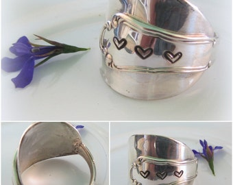 SPOON RING  love hearts BEAUTIFUL sterling silver handmade adjustable gift