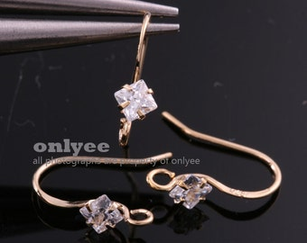 2pcs-12.5mmX4mmSilver Gold plated 925 sterling silver post Diamond-Shaped Stone French Hook Ear Wires (K034G)