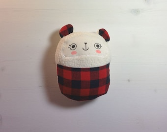 Stuffed bear soft baby toy with buffalo plaid front pouch. Handmade.