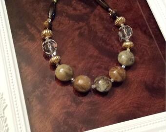 Large natural stone polished jade necklace