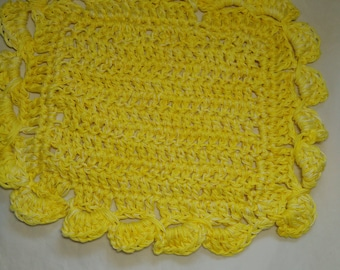 "Sunny Yellow Dishcloth with scalloped edging, approximately 10"" square, ready to ship. All cotton, handmade, fresh spring color"
