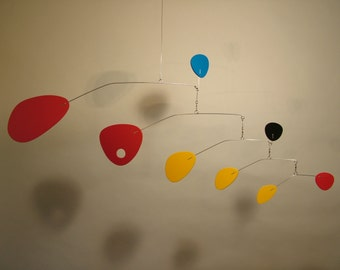 Modernist Mobile, Hanging Art, for Baby Nursery, Retro Art,  Calder Styled, Home Decor, Small 32x13