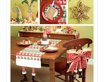 McCall's Sewing Pattern M7524 Christmas Table Runners, Decorations, Chair Back Cover and Silverware Holder