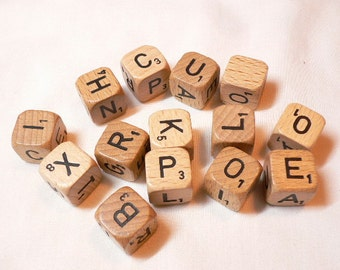 15 Wood Letter Dice, game pieces, charms, jewelry supplies, altered art supplies, assemblage