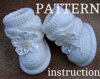 Knitting PATTERN Baby Booties Baby Shoes Pattern Knitted Baby Booties Knitting Pattern Baby Booty Baby Uggs Patterns Baby Boots ( PDF file )