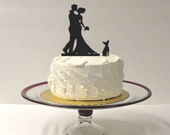 MADE In USA, Your Dog 48 Different Options + Bride + Groom Silhouette Wedding Cake Topper, Dog Pet Family of 3 Wedding Cake Topper Bride