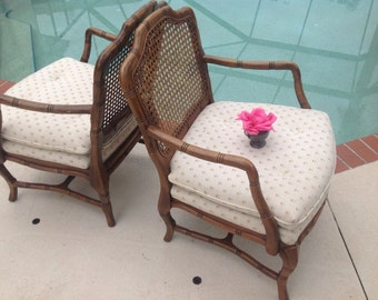 FAUX BAMBOO CHAIRS / Pair of Cane Back Hollywood Regency Chairs / Faux Bamboo Chairs / Palm Beach Chic Style On SALe at Retro Daisy Girl