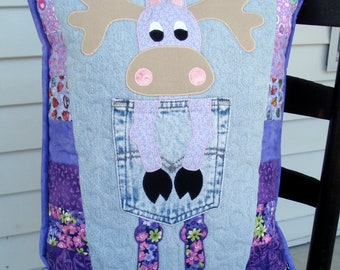 Lavender Purple Northern Moose Quilted Denim Pocket Pillow Recycled Denim