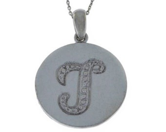 Initial Letter T Pendant .925 Sterling Silver Rhodium Finish