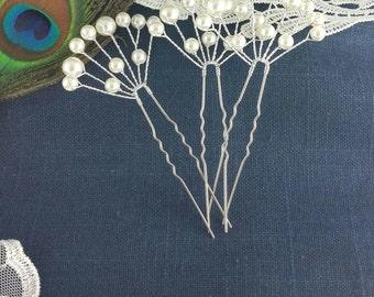 Pearl Silver Bridal Hair Pin, Ivory Baby's Breath Floral Hair Pins, Wedding Hair Accessories