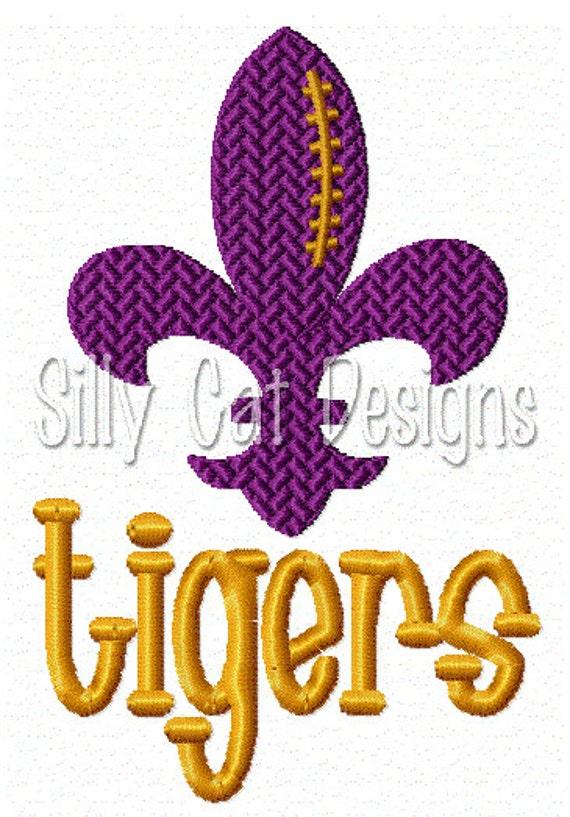 Tigers Football Fleur De Lis Embroidery Design
