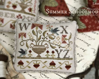 WITH THY NEEDLE Summer Club Schoolhouse Lesson Pick one #1 #2 #3 #4 counted cross stitch patterns at thecottageneedle.com