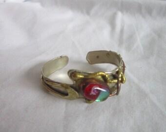 Vintage Ultra Retro Steam Punk Cuff Bracelet with Art Glass