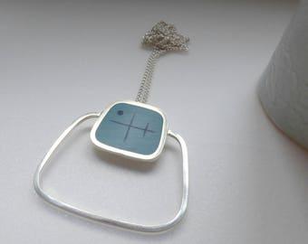 Big Square Silver Pendant - Statement Necklace - Aqua Blue Resin Pendant - Minimalist Pendant - Mid Century Design - Graphico Pendant Atomic