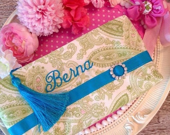 Personalized cosmetic bag, personalized makeup bag, pencil case, monogrammed, gift, custom cosmetic bag, toiletry bag