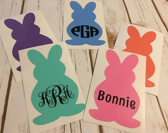 Bunny decal - Easter decal - bunny personalized decal - easter bucket decal - YETI decal - tumbler decal - easter vinyl decal - rabbit decal