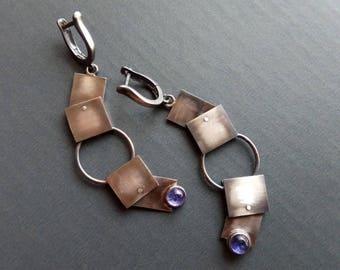 Long blue earrings Geometric earrings Gemstone earrings Minimalist earrings Blue jewelry Boho earrings Gothic earrings Square earrings