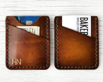 Mens Leather Wallet, Personalized Gift, Slim, Thin Front Pocket Wallet - BUY IT ONCE - Personalize up to 3 Characters, Initials - Durable