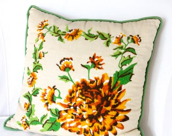 SALE / Gold and Green Embroidered Chrysanthemum Pillow