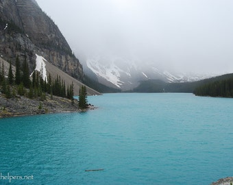 Lake Louise, Canada Rocky Mountains, Alpine Lake, Aqua Blue waters, Alpine Lake, Photograph or Greeting card