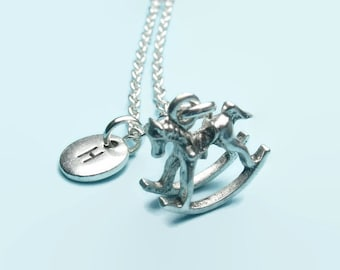Rocking horse charm necklace, toy horse necklace, personalised initial necklace, letter necklace, childrens necklace, toybox,