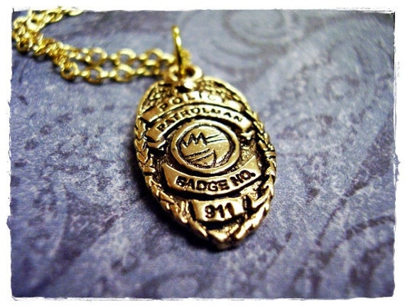 Gold police badge necklace antique gold pewter police badge like this item mozeypictures Choice Image