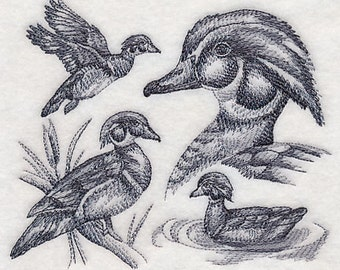 Wood Duck Sketch Embroidered Terry Bathroom  Hand Towel -- You Pick the Color -- Free Shipping