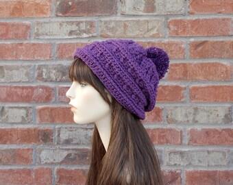 Purple Slouchy Hat, PomPom Hat, Womens Slouch Hats, Womens Beanies, Crochet Slouchy Hat, Winter Hat, Crocheted Hats for Adults, Cute Hats