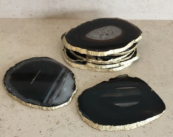 Set of 2 or more, 10-12cm Black Agate Stone Coasters with Gold edge