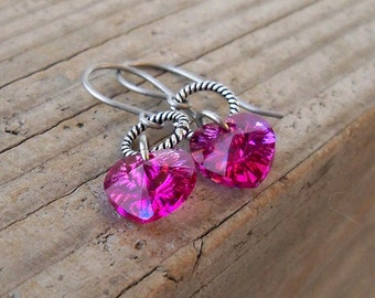 Valentine's Day Earrings - Heart Earrings - Titanium Earrings - Hypoallergenic Earrings - Drop Earrings - Pink Earrings - Hypoallergenic