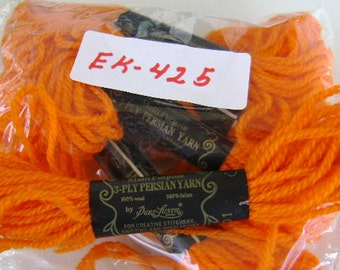 Yarn, Paragon, 100% Wool Crewel Needlepoint, Color #801 Bright Orange, 8.8 Yards