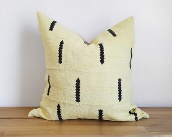 Authentic Yellow Zigzag Arrow Mudcloth Pillow Cover, Zigzag, Line