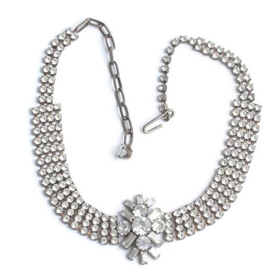Crystal Rhinestone Four Row Choker Necklace Center Focal Wedding Prom Pageant Necklace
