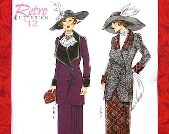 Butterick Sewing Pattern B6108 Edwardian Suit, Jacket Skirt, Jabot Bib, Misses' Sizes 14 16 18 20 22, Retro Romantic Tea Party Outfit, UNCUT