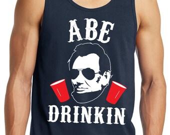ABE DRINKIN 4th of JULY Tank Top Men's - Navy Blue, Fourth of July Tank Top, Drinking Tank Top, President Tank Top, Patriotic, Beer