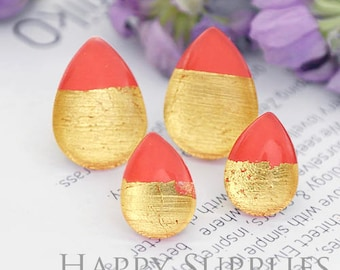 Handmade Red + Golden Foil Teardrop Glass Cabochon (TFG12-G) 10x14mm / 13x18mm / 18x25mm