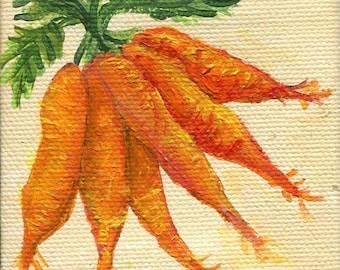 Carrots mini canvas art original, kitchen decor, food wall art, illustration, original acrylics painting carrots , mini acrylic painting,