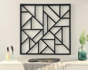 Civitas // City // grid mosaic wood art