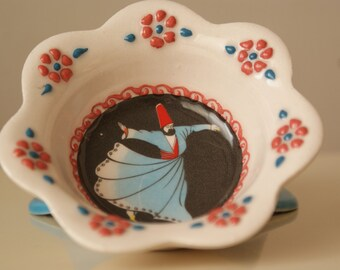 HANDMADE Multi - Coloured Embossed Ceramic Bowl with Dervish Printing