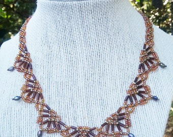 Gold seed bead netted necklace with pearls