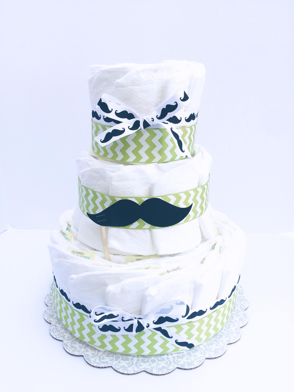 Mustache Diaper Cake , Mustache Baby Shower Decorations, Mustache Baby  Shower Centerpiece, 3 Layer Diaper Cake, Mustache Baby
