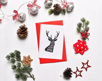 Printbale Christmas Card, Postcard, It' The Most Wonderful Time Of The Year Card, Greeting Card, Present, Christmas Gift, Deer Black Whites