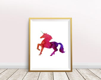 Red Unicorn Wall Art - Instant Download - Unicorn Print - Unicorn Printable - Watercolor Unicorn - Unicorn Wall Print - Girl's Room Wall Art