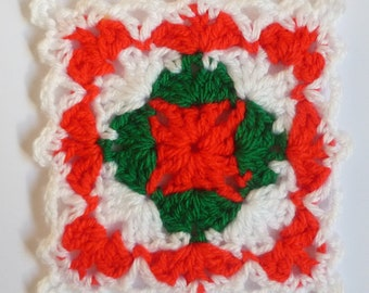 Instant Download Crochet PDF pattern - LD-0116 Christmas afghan block