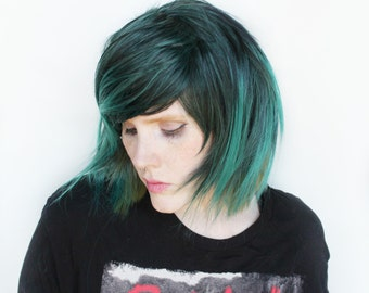 Short Green wig | Black wig, Straight Teal wig | Scene Emo wig, Green Emo wig, Cosplay wig | Emo Hair wig | Fern