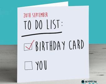 Funny Rude Birthday Card - To Do List