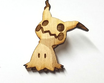 Mimikyu Pokemon Pin | Laser Cut Jewelry | Wood Accessories